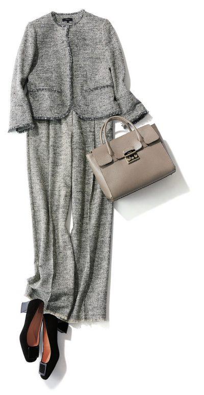 【卒入園コーデ】華やかにスタイリッシュに見せるツイードのパンツスーツ