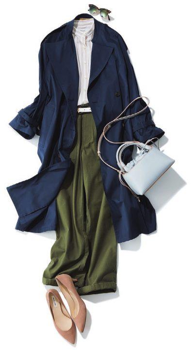 【明日のコーデ】ノーカラーシャツ×紺トレンチ
