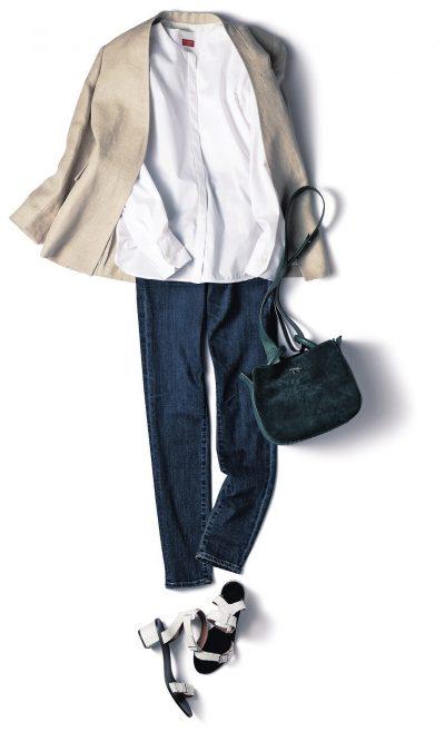 【明日のコーデ】白シャツ×デニム×リネンジャケット