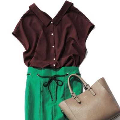 【明日のコーデ】ブラウンシャツ×グリーンのハイウエストパンツ
