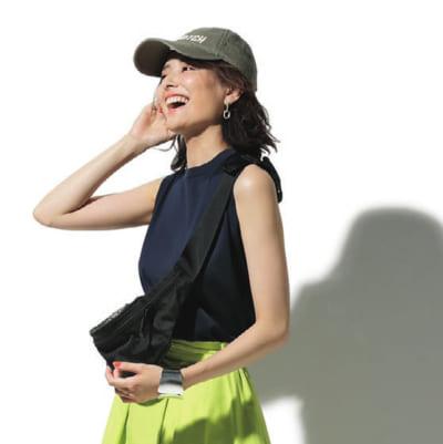 【夏の旅コーデ】ノースリカットソー×ライムグリーンスカート