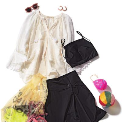 【明日のコーデ】コットンレースブラウス×スカート見えショーパン