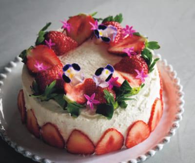 【イチゴと花のショートケーキ】市販スポンジの写真映えデコレーション⑤