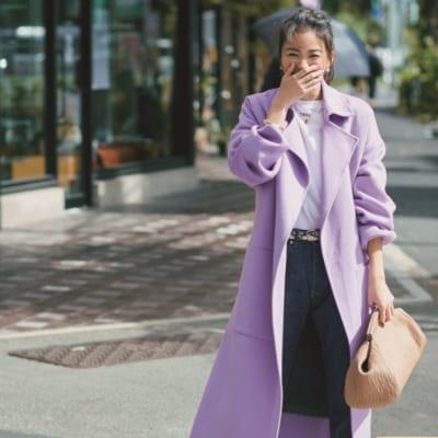 1枚で華やかなきれい色リバーコートはデニムコーデもお出かけスタイルに【明日のコーデ】