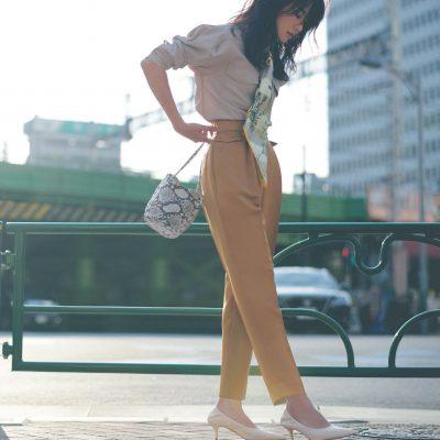 職場復帰のパンツスタイルは、ハイウェストですっきり女っぽく【明日のコーデ】