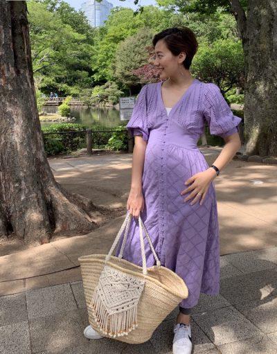 【妊娠5カ月】ウエストリボンワンピースなら妊娠後期も産後も着られる