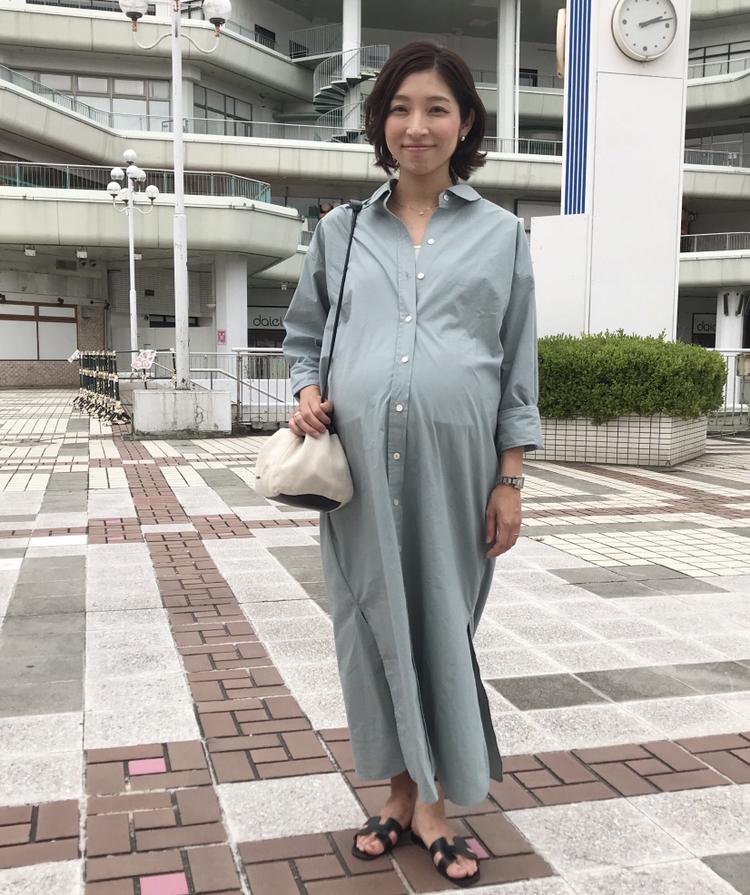 【妊娠10カ月】臨月のマタニティオシャレ、ビッグシャツとレギンス