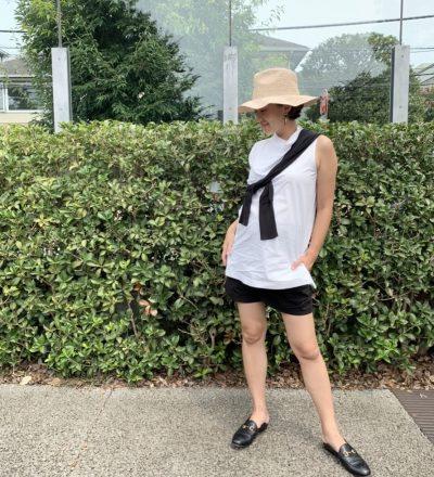 妊娠9カ月のハーフパンツコーデ|チームVERYのマタニティsnap