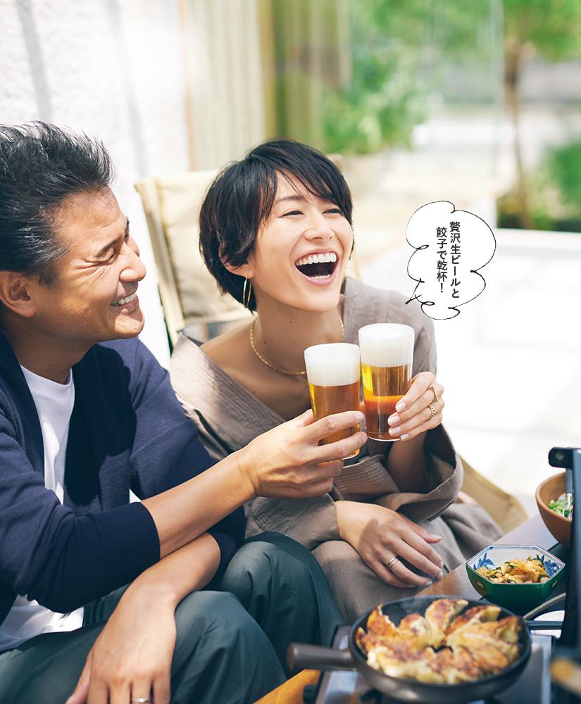 贅沢生ビールと餃子で乾杯!
