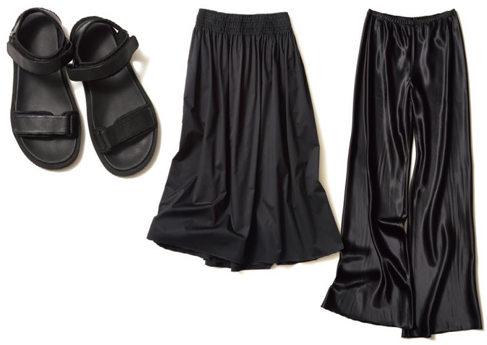 申真衣さん私物、黒サンダル、黒スカート