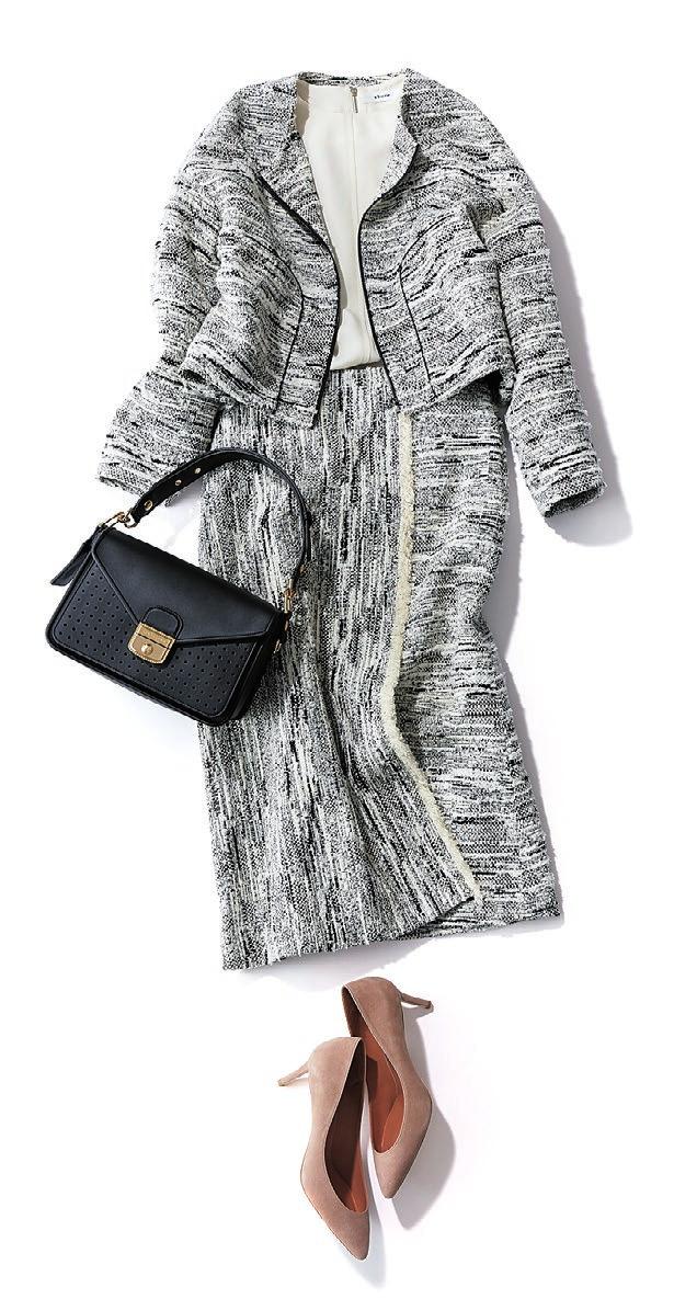 入学式・入園しいスーツ。ツイードのスカートスーツ。