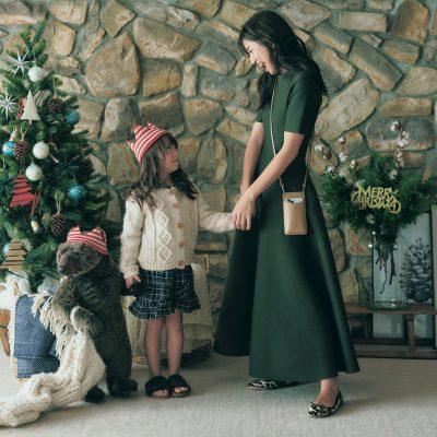 クリスマス気分はグリーンで!きれい見えワンピで気分UP【明日のコーデ】