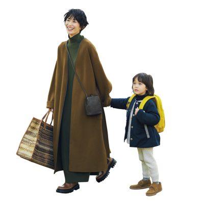 """【親子コーデ】ロングコートは""""足元にボリューム""""が今どきバランス"""