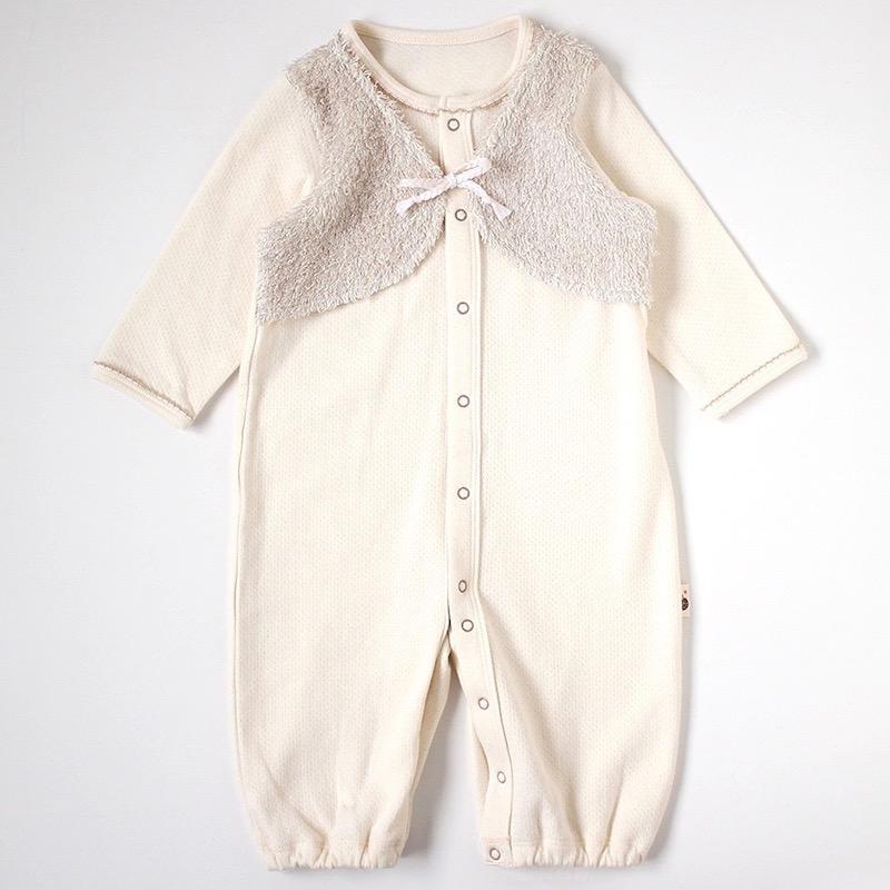 新生児肌着 オーガニックコットン ベスト着てる風 2wayドレス フィセル