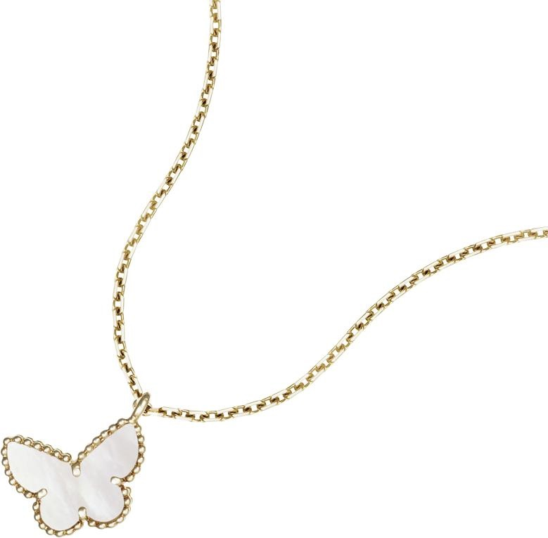 Sweet Alhambra butterfly pendant, yellow gold, white mother-of-pearl.