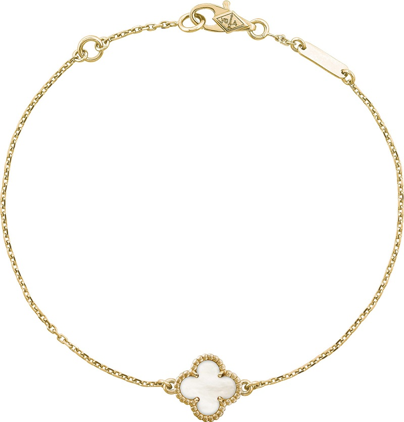 Sweet Alhambra bracelet, yellow gold, white mother-of-pearl