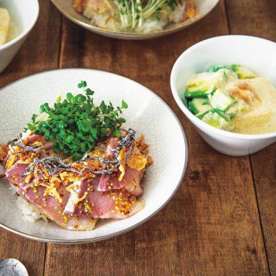 【2品献立】サルボ恭子さんの「お刺身のっけ丼とアボカド明太の温豆腐」