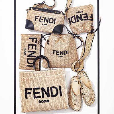 ロゴも新鮮!フェンディのストローバッグ&サンダルで春コーデ更新