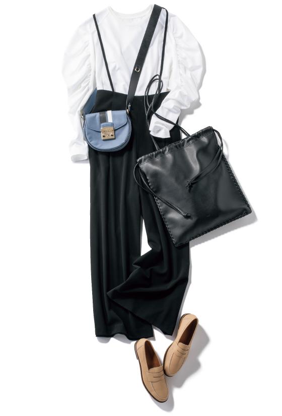 プチプラ黒パンツとロンTのカジュアルコーデ