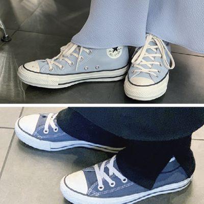 【足元SNAP】休日スタイルの「コンバース」はブルー系が人気!