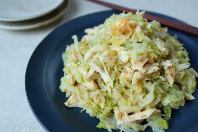 レンチン5分の副菜レシピ!「キャベツとささみの胡麻味噌和え」