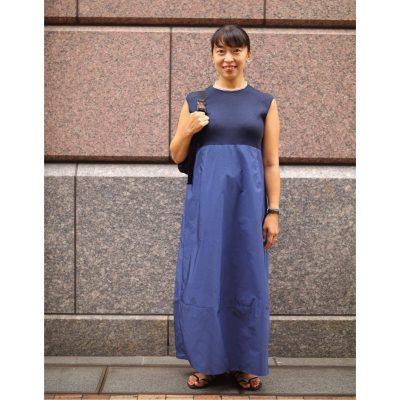 【妊娠7カ月】胸下切り替えのバルーンワンピでお腹もスッキリ見え!
