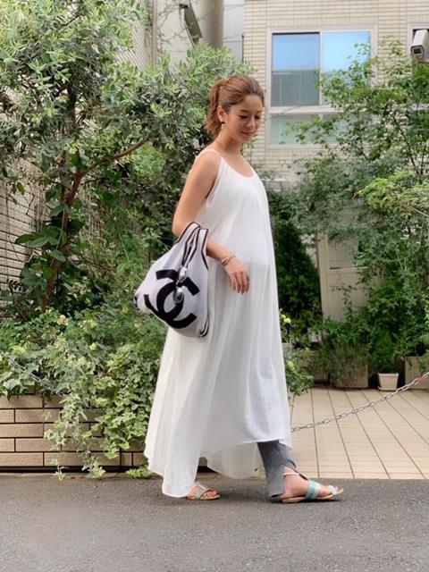 妊娠7カ月、STYLEBAR(スタイルバー)のレギンス×ワンピースの夏のマタニティコーデ