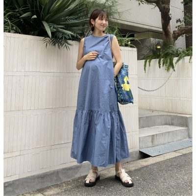 【妊娠9カ月】裾ギャザーデザインのワンピで目線ずらし作戦!