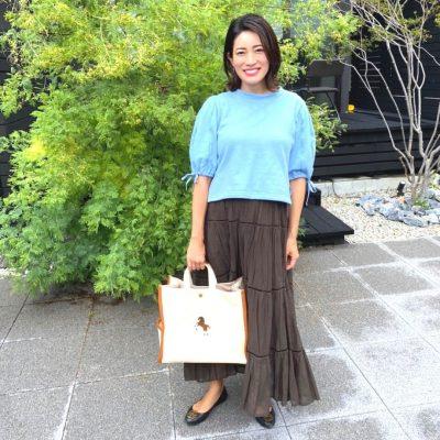 【妊娠8カ月】ロングスカート×短丈トップスでマタニティ服を使わないおしゃれ