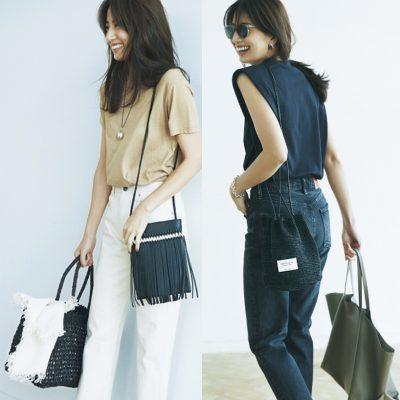 【Tシャツ×デニム】がもっと洒落る!夏のバッグ2個持ちコーデ4選