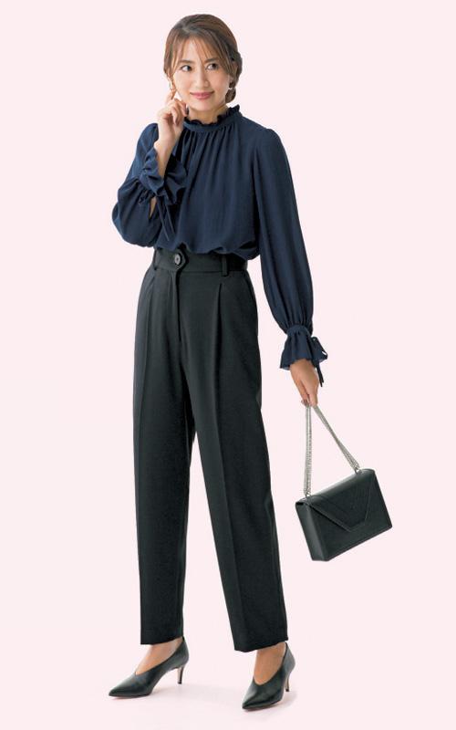 七五三 母親 服装 洋装 黒パンツ ネイビー トップス シフォン