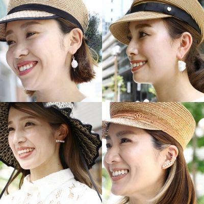 【ママSNAP】帽子×ピアスは「盛れるパール」で華やかが気分