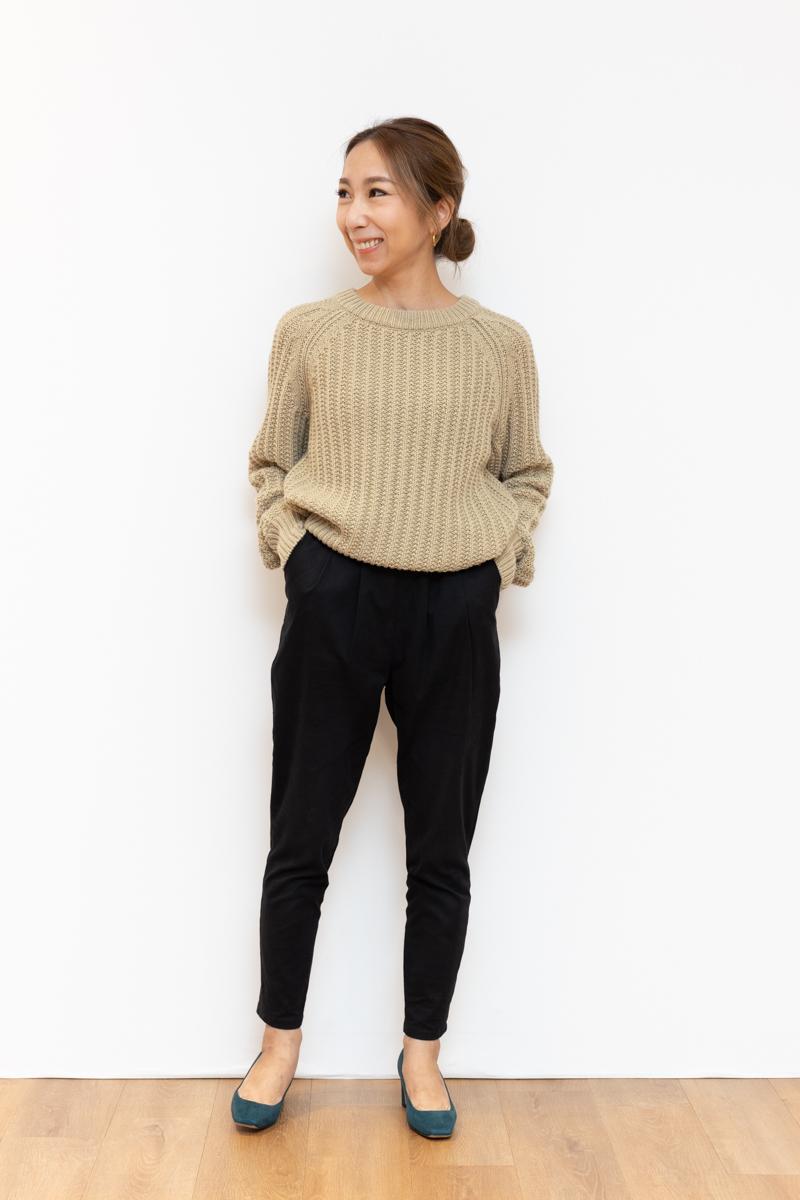 ユニクロユー(Uniqlo U)のローゲージ クルーネックセーター、150㎝台サイズ感