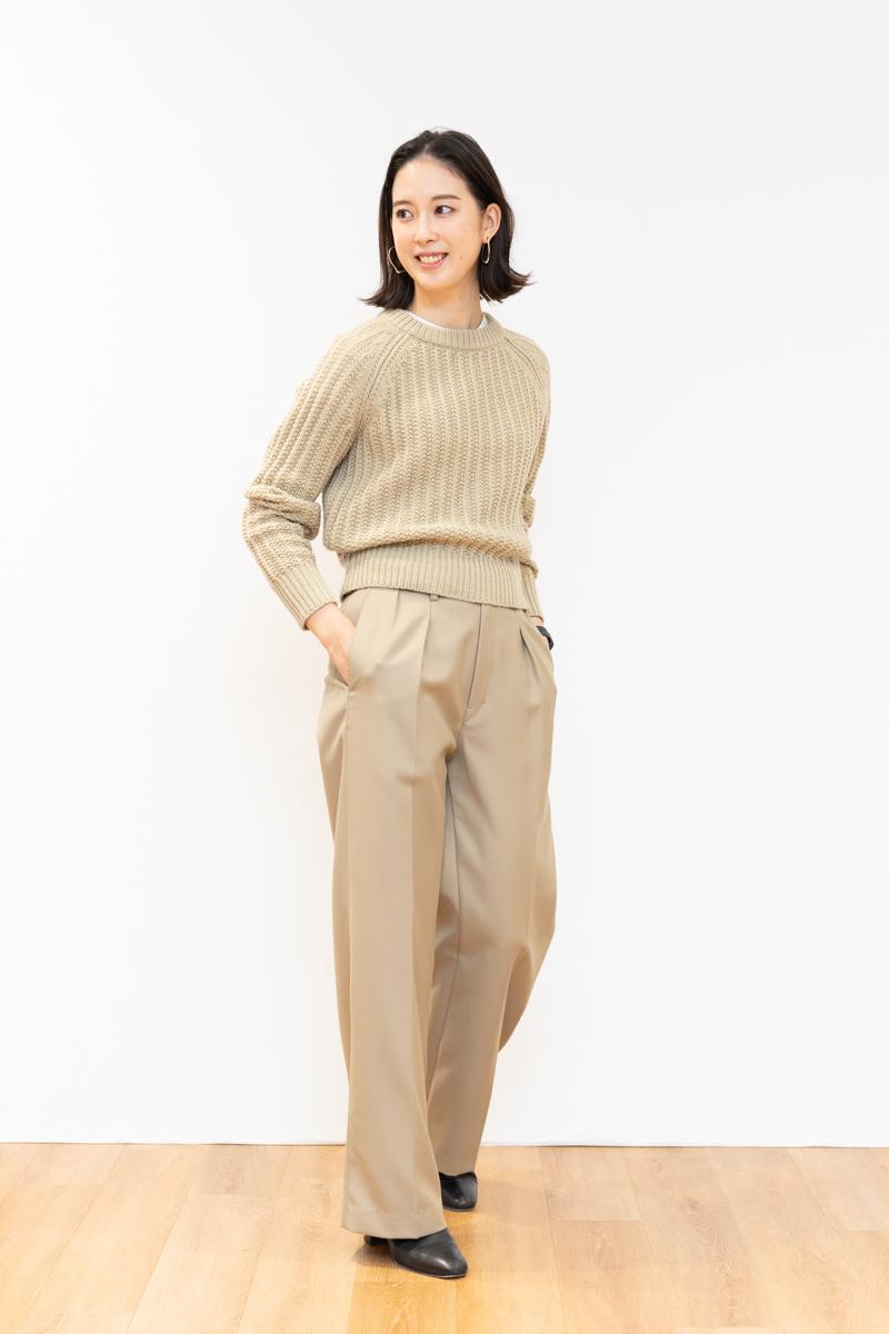ユニクロユー(Uniqlo U)のローゲージ クルーネックセーター、170㎝台サイズ感