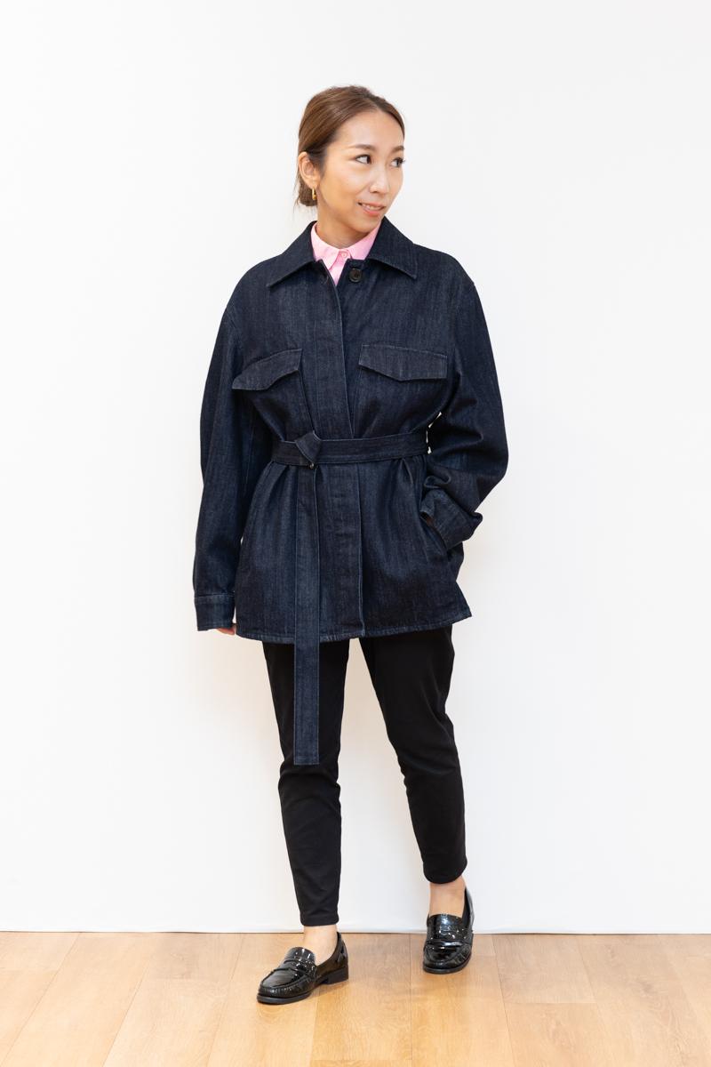 Uniqlo U(ユニクロユー)のデニムシャツジャケット、150㎝台のサイズ感。Mサイズ