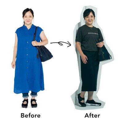 【着痩せはシルエット重視】低身長さんの「スカートが主役の黒コーデ」