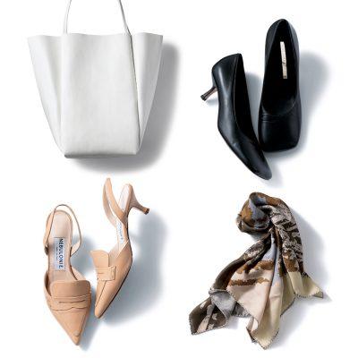通勤ママに◎!使い回せる「バッグ・靴・スカーフ」の活用コーデ