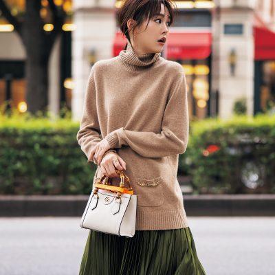 桐谷美玲さんスカートの日のバッグは「GUCCI DIANA」